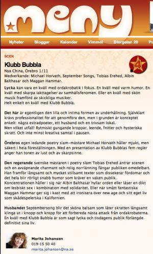 Klubb Bubbla - Scenrecensioner - meny.nu